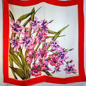 Christian Dior Red & Pink Floral Themed Silk Scarf
